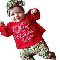 neue ankunftsbabyausstattung großhandel-2018 neue Ankunft Hohe Qualität Kleinkind Säuglingsbabys Frohe Weihnachten Weihnachten Tops T-shirt Hosen Outfits Set Winter Herbst Sets
