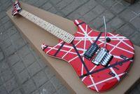 e-gitarre schwarzer tremolo großhandel-Custom Shop Edward Van Halen 5150 Schwarz Weiß Streifen Rot Kramer Elektrische Gitarre Floyd Rose Tremolo Brücke