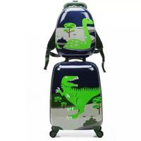 rodas de animais venda por atacado-Dos desenhos animados Bonito Animal Crianças Rolling Bagagem Set Spinner Crianças Mala De Viagem Trole Saco de Viagem Estudante Estudante Tronco
