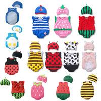Wholesale new born unisex clothes for sale - 0 M Cartoon Baby Bodysuits Hat Set Layette Cotton Jumpsuit Baby Clothes New Born Boy Girl Bodysuit Summer Overalls
