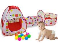 piscinas plegables al por mayor-300 cm de interior Casa al aire libre + Tubo + Mar piscina de bolas (3 en 1) carpa plegable para niños parque de tiro juego de gatear carpa juguete de bebé regalo