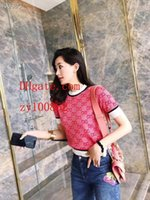 casaco jacquard venda por atacado-2019 marca mulheres tops Rosa carta clássica jacquard de malha de manga curta top mulheres malha cardigan camisola de malha de alta qualidade mulheres roupas TS-12