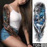 ingrosso rose gialle false-Nuovo adesivo tatuaggio temporaneo 1 pezzo Giallo verde Modello di rose morte Tatuaggio pieno fiore con braccio Body Art Grande Tatto falso