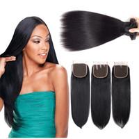 remy qualität haarverlängerungen großhandel-Hohe Qualität 9A Remy Hair 3 Bundles mit Lace Closure Raw Virgin Indian Glattes Haar brasilianische peruanische Rohboden Haarverlängerungen