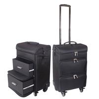 make-up koffer reise großhandel-Carrylove-Frauenverfassungs-Laufkatzenkasten-großer kosmetischer Koffer der professionellen kosmetischen Reisetasche