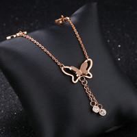moda cristal de orelha tornozeleira venda por atacado-Moda elegante da borboleta Cadeia Crystal Rose ouro único Mulheres de aço de titânio de calçados do Anklet Jóias Lazer férias