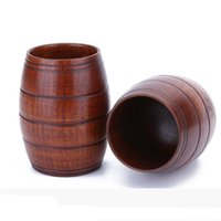 Wholesale portable wine glasses for sale - Group buy Wooden Barrel Shaped Beer Mug crestive wood beer cup chicken bar drinkware wine glass portable wooden tumbler MMA2521