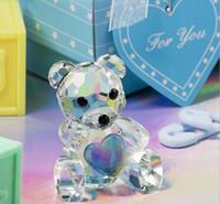 ayı parti iyiliklerini toptan satış-50 adet Kristal Teddy Bear Bebek Duş Parti Hediye Düğün Şekeri Düğün Keepsakes Hediyelik Eşya DHL Tarafından Ücretsiz Kargo