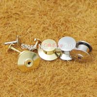 pasadores de bloqueo de latón al por mayor-Venta al por mayor-100 piezas plateado de bloqueo Tie Tac Tack guardia Pin Clutch Backs Brass para Rock Biker Nickel Gold choF102