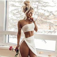 vestido corpo-ombro branco venda por atacado-Elegante Fora de Um Ombro Colheita Tops Bandage Bodycon Vestido Mulheres Sexy Two Piece Set Vestidos de Festa Do Vintage Branco Vestidos de 2019