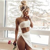 bir omuz beyaz seksi elbiseler toptan satış-Zarif Kapalı Bir Omuz Mahsul Tops Bandaj Bodycon Elbise Kadınlar Seksi Iki Parçalı Set Elbiseler Vintage Parti Beyaz Elbiseler 2019