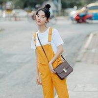 koreanischen lässigen overall großhandel-Herbst Candy Frühling Farbe Frauen Insgesamt Korean Fashion Süße Feste Baumwolle Weibliche Overalls Elegante Beiläufige Lose Pluderhosen