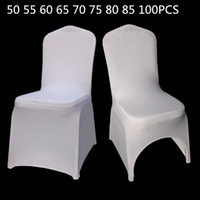 Pleasing 50 55 60 65 75 80 85 100Pcs White Universal Stretch Polyester Wedding Party Spandex Chair Covers Caraccident5 Cool Chair Designs And Ideas Caraccident5Info