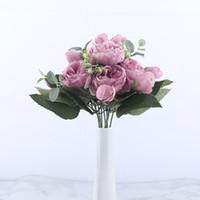 ingrosso testa di fiore artificiale rosa-Mazzo di fiori artificiali di peonia di seta rosa rosa di 30 cm 3 fiori finti a testa grande e 4 gemme per matrimonio a casa spedizione gratuita