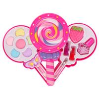 meninas compõem brinquedos venda por atacado-Princesa Pretend Play Kid Make Up Brinquedos Maquiagem pirulito Simulação Brinquedo Para Meninas Vestir Cosméticos Caixa De Viagem
