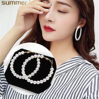 goldschmuck südkorea großhandel-Neue Perle Creolen für Frauen Elegante Mädchen Übertreibt Übergröße Perle Kreis Ohr Ringe Ohrringe Süße Südkorea Design Schmuck