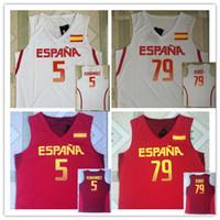 camisetas rio t venda por atacado-ESPANHA 5 RUDY FERNANDEZ 79 rubio Jogos Olímpicos Rio 2016 BASQUETEBOL JERSEY EUROBASKET FIBA T-shirt colete Camisolas de basquete costuradas