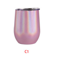 Wholesale coffee cup lids china for sale - Group buy 12oz Rainbow Wine Tumbler Egg Shaped Stemless Tumbler Double Wall Stainless Steel Tumbler oz coffee mug with lid