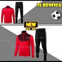 conjunto completo de camisolas de futebol venda por atacado-Thai 2019 SL Benfica Futebol longa jaqueta de manga definido com homens cheios de zíper terno de futebol