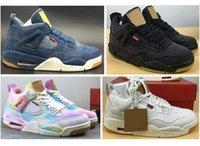 gökkuşağı basketbol ayakkabıları toptan satış-En iyi Kalite 4 Denim Basketbol Ayakkabı Erkekler 4 s NRG Mavi Siyah Beyaz Renkli Gökkuşağı Denims Kutusu Ile Spor Sneakers