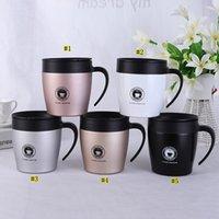 cuillères à café en acier achat en gros de-Tasse de café isolée par 330ML avec la poignée Tasse de café 12oz isolée par vide d'acier inoxydable avec la tasse d'eau de bureau de cuillère MMA1961