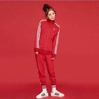 hoodie çizgileri toptan satış-Spor Marka Kadın Eşofman Logosu Ile Womens Tasarımcı Parça 3 Stripes Suits Moda Hırka Spor HoodiesPants 2 adet Suits Giysileri