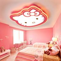 modern çocuk lambası çizgi filmi toptan satış-Çocuk odası için LED Yaratıcı tavan lambası Kitty kedi basit modern karikatür pembe prenses yatak odası lambaları