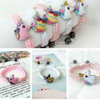 jóia bonito do bebê venda por atacado-Unicorn Knitting Pulseira 5 estilos Animais crianças Acessórios Bebé bonito pendant presentes jóias de cadeia para Crianças RRA2263