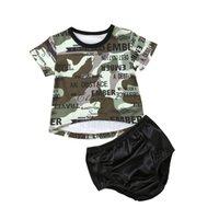 ingrosso pantaloni camouflage ragazze-Pudcoco 2pcs Toddler Bambini Neonate Set manica corta Camouflage T-shirt Top + Shorts Pantaloni Outfit vestiti di cotone Set