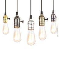 vintage tarzı aydınlatma armatürleri toptan satış-Vintage demir boyalı kolye lamba E27 220 V LED 12 stilleri asılı ışık fikstür restoran yatak odası oturma odası mutfak cafe shop