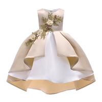 neujahrsblume großhandel-Silvester Kleid Prinzessin Blumenmädchen Kleid Sommer Hochzeit Geburtstag Party Kleider für Mädchen Kinder Weihnachten Mädchen