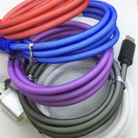 rede de pesca trança venda por atacado-2A boa qualidade Tipo de rede de pesca c cabo USB Micro Thicker trançado Tecido 1m 2m 3m cabos de carregador de dados para samsung S6 S7 S8 S9 HTC lg