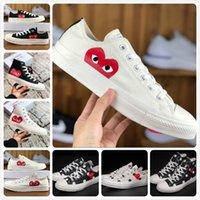büyük göz toptan satış-2019 Yeni Oyna Tüm Yıldız ayakkabı Ile CDG Tuval Ortak Büyük Gözler Kalpler Marka Bej Siyah tasarımcı casual koşu Kaykay Sneakers 35-44