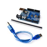 usb geliştirme kartı toptan satış-UNO R3 Geliştirme Kurulu CH340G + MEGA328P Çip Arduino Için 16 Mhz UNO R3 + USB KABLOSU Ile Düz Pin Header