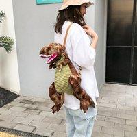 grandes mochilas de peluche al por mayor-3D Big Vivid Dinosaur Plush Mochila para niños Mochilas Niños Bolso pequeño Chica Cute Animal Prints Bolsas de viaje Juguetes Regalo 4 colores