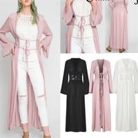 collar de encaje cardigan negro al por mayor-Mujeres Casual Vintage Kimono Cardigan Ladies 2019 Summer Long Crochet Lace Kimono Preto Loose Floral Impreso Blusa Tops Negro