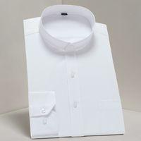 ingrosso il collare del mandarino veste il manicotto lungo-Camicia per colletto alla coreana Camicia per colletto stile cinese Mens Business Formal Social Camicie Casual manica lunga Sim Fit
