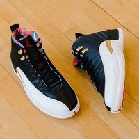 sapatas de basquetebol chinesas novas venda por atacado-Nova Chegada CNY Ano Novo Chinês 12S Homens Tênis De Basquete 12 CI2977-006 Black Sail-Metálico Ouro-True Red Athletic Sports Sneakers 8-13