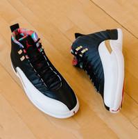 nuevas zapatillas de baloncesto chinas al por mayor-Nueva llegada CNY Año Nuevo chino 12S Hombres Zapatillas de baloncesto 12 CI2977-006 Negro Sail-Metallic Gold-True Red Athletic Zapatillas deportivas 8-13