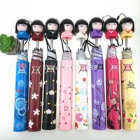muñeca japonesa de chicas calientes al por mayor-Hot 50 unids Novedad Kokeshi Muñeca Paraguas Plegable Muñecas Japonesas Botella Plegable Kimono Chica Paraguas Tradicional