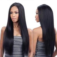 kurze kastanienbraune haarfarbe groihandel-Natürliche schwarze lange gerade volle Perücken Hitzebeständige Glueless Spitze-Front-Perücken für schwarze Frauen Peruaner Malaysian