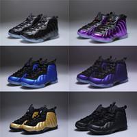 cajas de zapatos para niños al por mayor-Con caja Unisex Infantil Penny Hardaway Espuma Uno Zapatos de baloncesto Niños Púrpura Deportes Chicas Zapatillas de deporte para niños Niños Atlético Adolescente