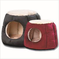nächstes rot großhandel-Katzenbett Haustier Haus S / L Hundehütte Mat Weiche Faser Hund Welpen Warm Weiches Bett für Hund nächste Katze Höhle Haus mit Grau Rosa Rot