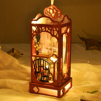 Wholesale diy old toys wooden resale online - DIY Model Building Toy Chinese Style Romantic Lantern with Light Wooden Building Blocks for Party Kid Birthday Gift Collect Decoration