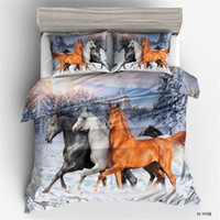 Wholesale horse bedding sets king size resale online - Animal Horse D Digital Printed Duvet Cover Pillowcase Set Single Double Bed Twin Queen King Size Bedding Set