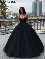 uzun siyah korse balo elbiseleri toptan satış-Siyah Prenses Balo Gelinlik Modelleri 2K19 Sevgiliye Korse Geri Uzun Parti Abiye Vestides de dresses Kapalı Omuz Balo Elbise