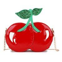 rote kirschtüte großhandel-ABSF Fashion Cute Red Cherry Umhängetasche Pu-Leder Casual Chain Mini Messenger Bag Mädchen Kupplung