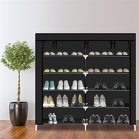 Wholesale shoe storage covers resale online - 7 Tiers Portable Shoe Rack Closet Fabric Cover Shoe Storage Organizer Cabinet Black It would make a great addition to a closet bedroom