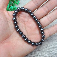 Wholesale therapy stones resale online - Weight Loss Round Black Stone Magnetic Therapy Bracelet Health Care Charm Braclets for Unisex Women Women Jewelry Accessory