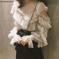 kore tarzı bluzlar toptan satış-Kadınlar için Bahar yaz bluzlar 2019 Kore tarzı kawaii lolita bluz bayanlar fırfır soğuk omuz örgü peri blusa mujer başında